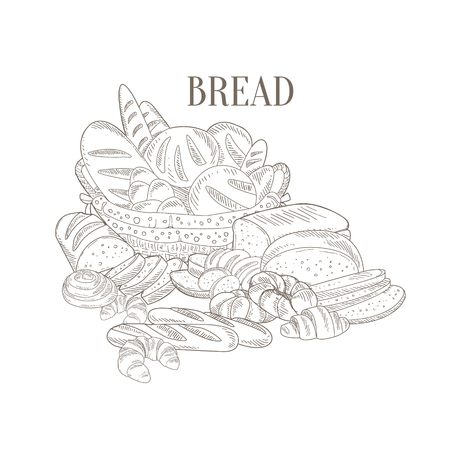 still life food: Different Bread Still Life Hand Drawn Realistic Detailed Sketch In Classy Simple Pencil Style On White Background Illustration