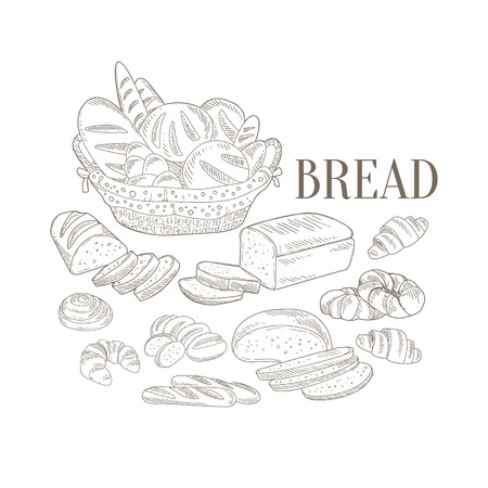 bread basket: Bread Basket And Other Bakery Products Hand Drawn Realistic Detailed Sketch In Classy Simple Pencil Style On White Background Illustration