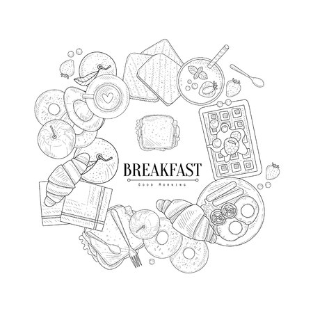 still life food: Breakfast Food Framing The Text Hand Drawn Realistic Detailed Sketch In Classy Simple Pencil Style On White Background