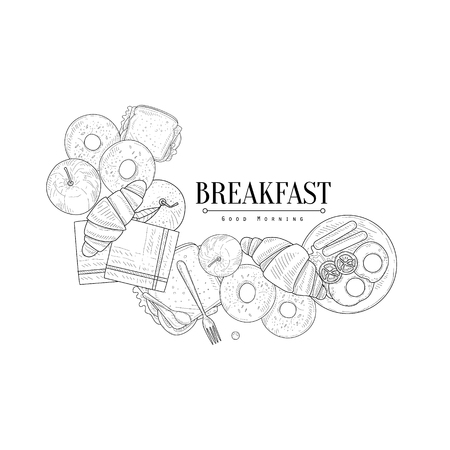 english breakfast: Full English Breakfast Set Hand Drawn Realistic Detailed Sketch In Classy Simple Pencil Style On White Background