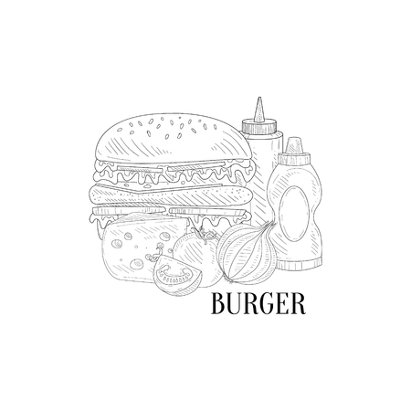 still life food: Burger, Ketchup And Mustard Hand Drawn Realistic Detailed Sketch In Classy Simple Pencil Style On White Background Illustration
