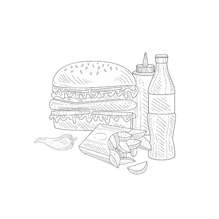 still life food: Burger, Soda And Fries Fast Food Meal Hand Drawn Realistic Detailed Sketch In Classy Simple Pencil Style On White Background