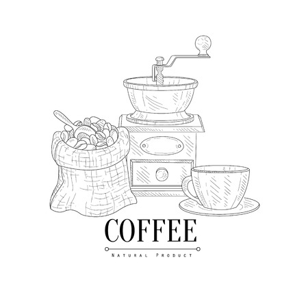 coffee sack: Coffee Mill, Cup and Sack Of Beans Hand Drawn Realistic Detailed Sketch In Classy Simple Pencil Style On White Background
