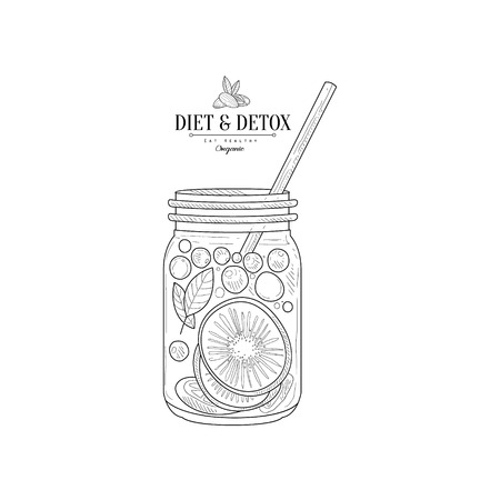 rich in vitamins: Fruit Smoothie In A Jar Hand Drawn Realistic Detailed Sketch In Classy Simple Pencil Style On White Background