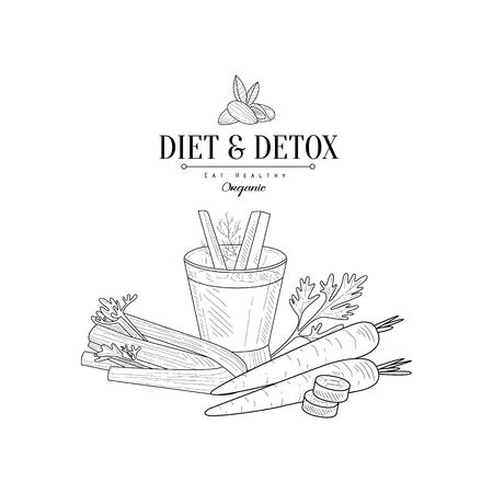 Vegetables And Celery Detox Hand Drawn Realistic Detailed Sketch In Classy Simple Pencil Style On White Background