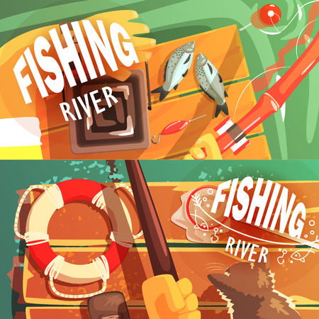 Two Fishing Illustrations With Only Hands Visible Cool Colorful Vector Illustration In Stylized Geometric Cartoon Design