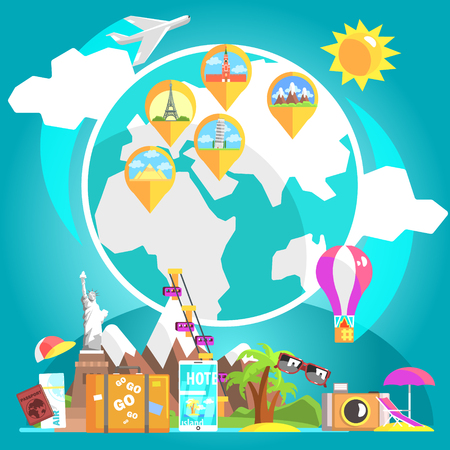 destinations: Travelling Attributes With Glove And Marked Destinations On The Background Cool Colorful Vector Illustration In Stylized Geometric Cartoon Design