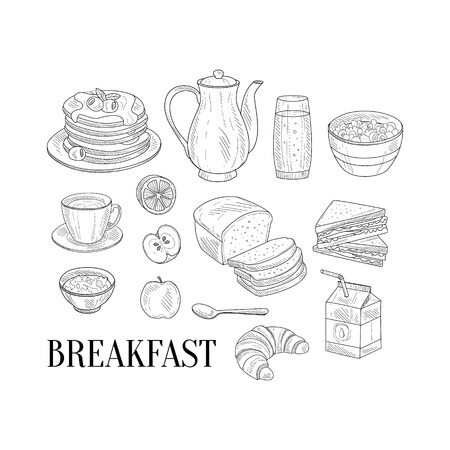 isoated: Breakfast Related Isoated Food Items Hand Drawn Realistic Detailed Sketch In Classy Simple Pencil Style On White Background