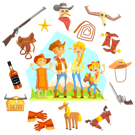 death valley: Family Dressed As Cowboys Surrounded By Wild West Related Objects Cool Colorful Vector Illustration In Stylized Geometric Cartoon Design Illustration