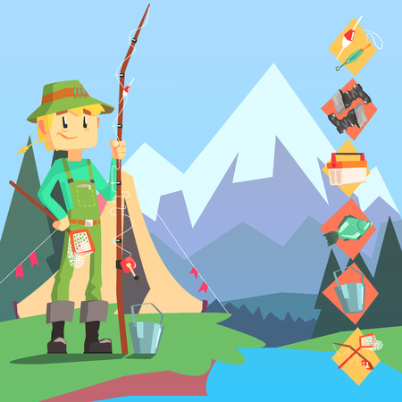 Fisherman And Thing Needed For Fishong Infographic Cool Colorful Vector Illustration In Stylized Geometric Cartoon Design Illustration