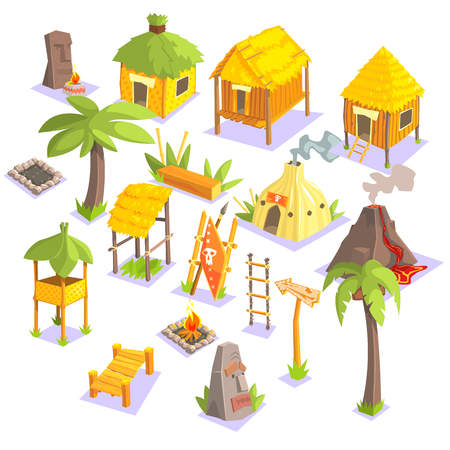 Jungle Tribal Living Houses And Other Objects Cool Colorful Vector Illustration In Stylized Geometric Cartoon Design