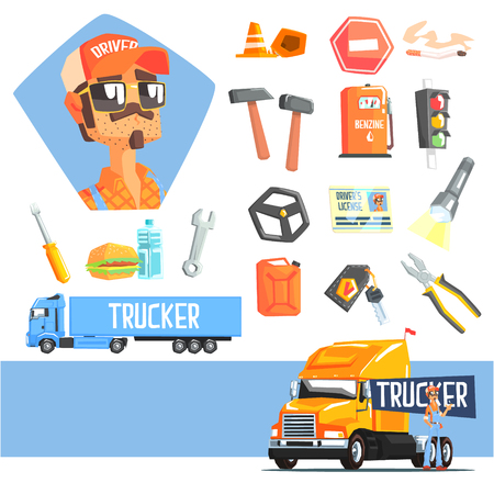 truck driver: Long-Distance Truck Driver And Elements Related To This Job Cool Colorful Vector Illustration In Stylized Geometric Cartoon Design
