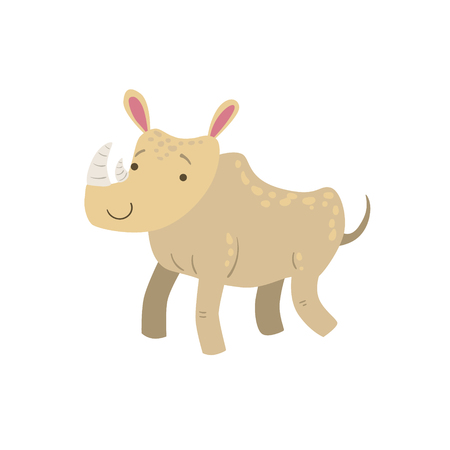 Rhino Stylized Childish Drawing Isolated On White Background. Primitive Cartoon Style Illustration For Children In Flat Vector Design.