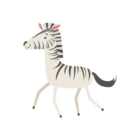 babyhood: Zebra Stylized Childish Drawing Isolated On White Background. Primitive Cartoon Style Illustration For Children In Flat Vector Design. Illustration