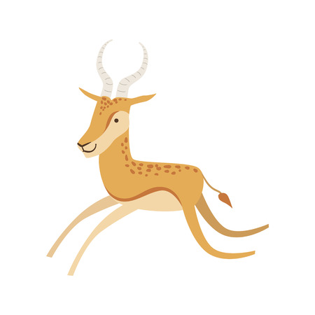 infancy: Gazelle Stylized Childish Drawing Isolated On White Background. Primitive Cartoon Style Illustration For Children In Flat Vector Design.