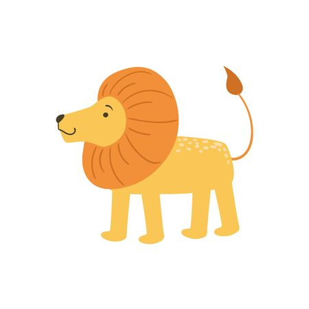 infancy: Lion Stylized Childish Drawing Isolated On White Background. Primitive Cartoon Style Illustration For Children In Flat Vector Design.