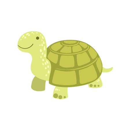land shell: Tortoise Stylized Childish Drawing Isolated On White Background. Primitive Cartoon Style Illustration For Children In Flat Vector Design.