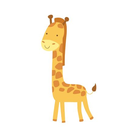 infancy: Giraffe Stylized Childish Drawing Isolated On White Background. Primitive Cartoon Style Illustration For Children In Flat Vector Design. Illustration
