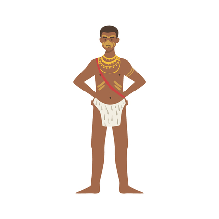 tribe: Man In Loincloth From African Native Tribe Simplified Cartoon Style Flat Vector Illustration Isolated On White Background Illustration
