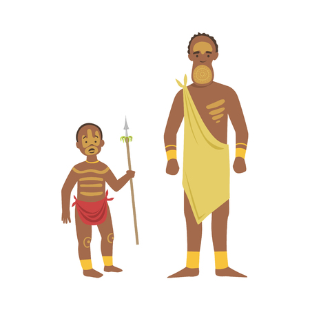 tribe: Man And Boy From African Native Tribe Simplified Cartoon Style Flat Vector Illustration Isolated On White Background