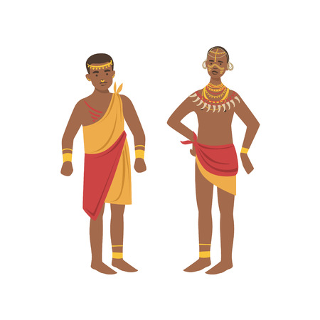 simplified: TwoMen In Loincloth From African Native Tribe Simplified Cartoon Style Flat Vector Illustration Isolated On White Background