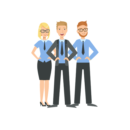 Three Managers Teamwork Simple Cartoon Style Illustration. Office Employees Working Together Cute Flat Vector Drawing. Illustration