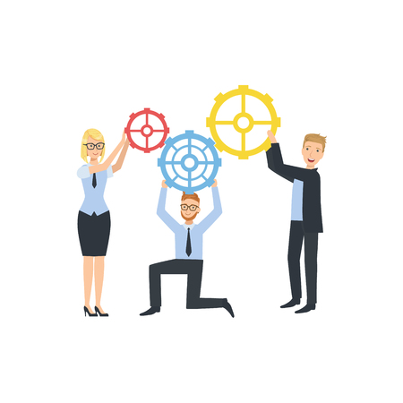 Managers Holding Connecting Gears Teamwork Simple Cartoon Style Illustration. Office Employees Working Together Cute Flat Vector Drawing. Illustration