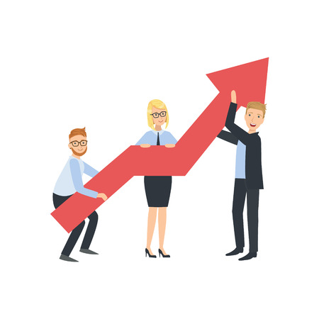 holing: Managers Holing Arrow Showing Growth Teamwork Simple Cartoon Style Illustration. Office Employees Working Together Cute Flat Vector Drawing.