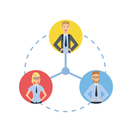 tusk: Time And Tusk Sharing Teamwork Simple Cartoon Style Illustration. Office Employees Working Together Cute Flat Vector Drawing.