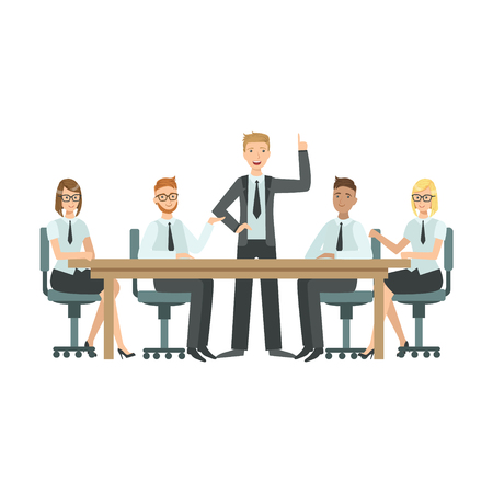 Managers Sitting On Meeting Teamwork Simple Cartoon Style Illustration. Office Employees Working Together Cute Flat Vector Drawing. Vetores