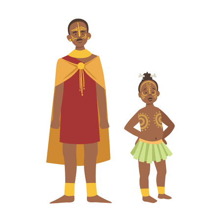 heir: Chief And His Son In Skirt From African Native Tribe Simplified Cartoon Style Flat Vector Illustration Isolated On White Background