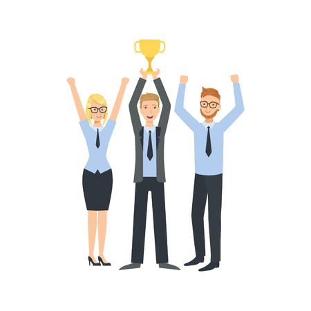 place of work: Mangers Celebrating Victory Teamwork Simple Cartoon Style Illustration. Office Employees Working Together Cute Flat Vector Drawing.