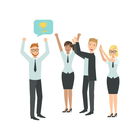 simplified: Manager Sharing Good News With Cheering Colleagues Teamwork Simple Cartoon Style Illustration. Office Employees Working Together Cute Flat Vector Drawing. Illustration