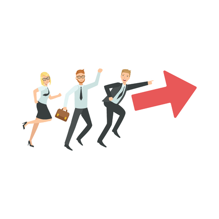 Managers Running In Pointed Direction Teamwork Simple Cartoon Style Illustration. Office Employees Working Together Cute Flat Vector Drawing. Illustration