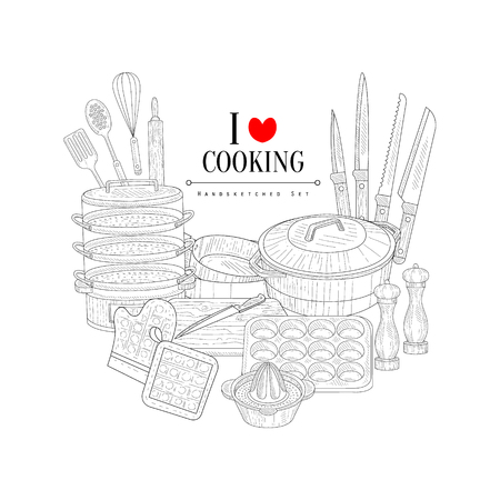 Love For Cooking Hand Drawn Realistic Detailed Sketch In Classy Simple Pencil Style On White Background Vector Illustration