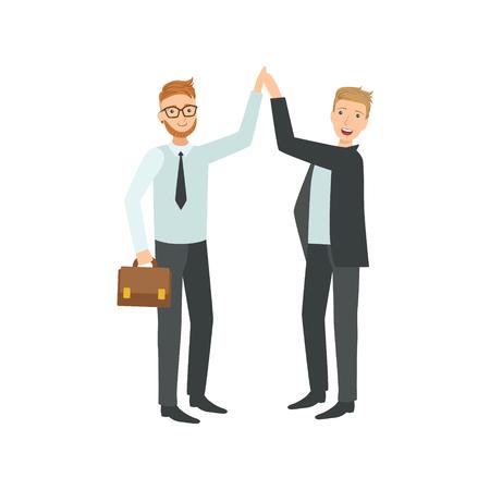 Managers geven High Five Teamwork eenvoudige stijl Illustratie van het Beeldverhaal. Office Medewerkers Working Together Cute Flat Vector Tekening.