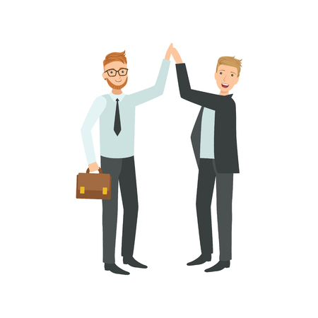 high five: Managers Giving High Five Teamwork Simple Cartoon Style Illustration. Office Employees Working Together Cute Flat Vector Drawing.