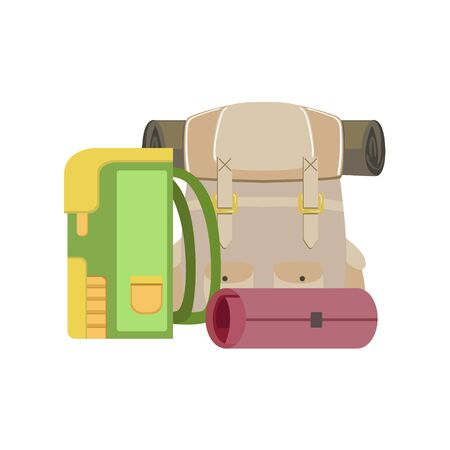 matrass: Backpacks And Rolled Camping Matrass Simple Childish Flat Colorful Illustration On White Background