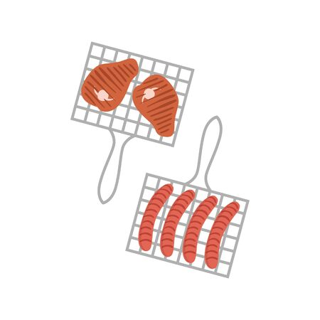 porc: Two Grill Grids With Sausages And Porc Chops Simple Childish Flat Colorful Illustration On White Background Illustration