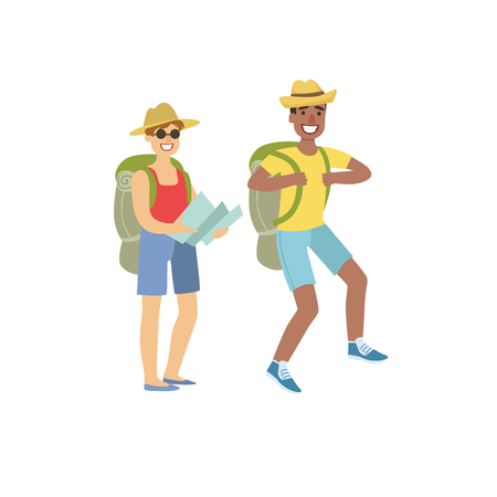 couple hiking: Two People Hiking With Map Simple Childish Flat Colorful Illustration On White Background