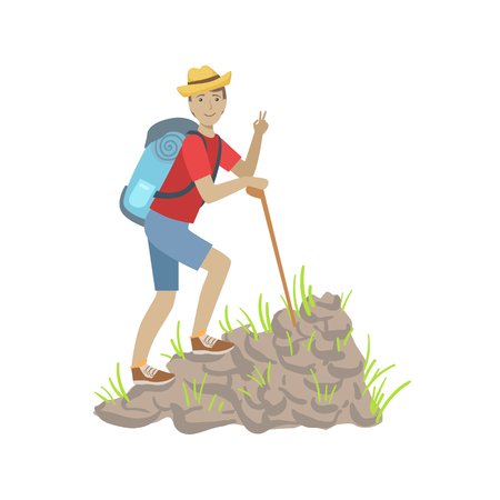slope: Man Climbing A Rocky Slope With Backpack Simple Childish Flat Colorful Illustration On White Background Illustration