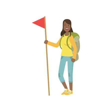 bandera blanca: Woman With The Flag And Backpack Simple Childish Flat Colorful Illustration On White Background