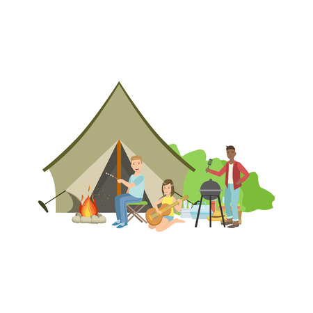 simplified: Friends Doing Barbecue With The Bonfire And Tent Simple Childish Flat Colorful Illustration On White Background