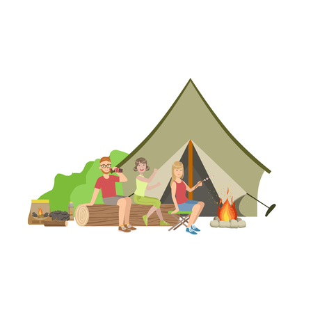 Friends Sitting On The Log Next To Bonfire In Camp Simple Childish Flat Colorful Illustration On White Background