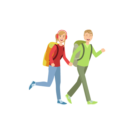 couple hiking: Young Couple Hiking Holding Hands Simple Childish Flat Colorful Illustration On White Background Illustration