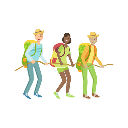thee: Thee Hikers Holding To The Rope Simple Childish Flat Colorful Illustration On White Background