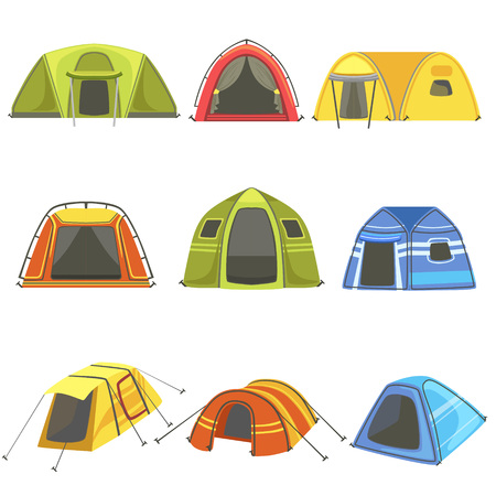 unfolded: Colorful Tarpaulin Tents Set Of Simple Childish Flat Illustrations Isolated On White Background