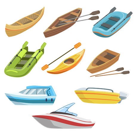peddle: Different Types Of Boats Colorful Set Of Simple Childish Flat Illustrations Isolated On White Background Illustration