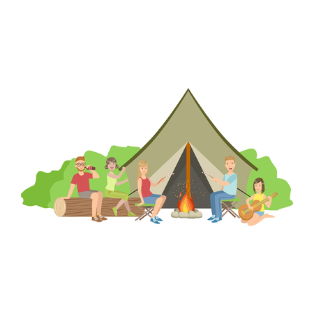 Friends Camping Together Sitting Next To Bonfire Simple Childish Flat Colorful Illustration On White Background