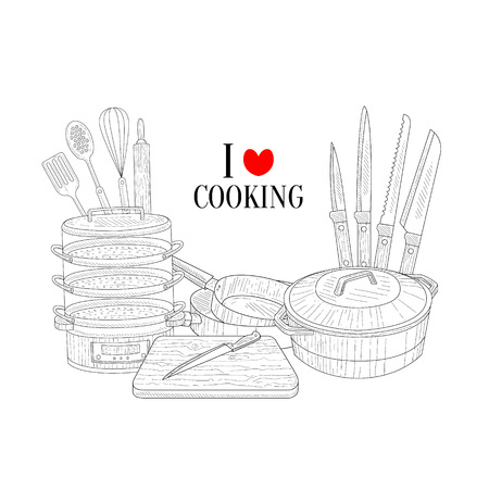 skimmer: Set Of Cooking Utensils Hand Drawn Realistic Detailed Sketch In Classy Simple Pencil Style On White Background